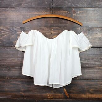 top white vintage off the shoulder off shoulder crop ruffle boho bohemian