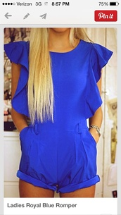 shorts,royal blue romper,dress,romper,cobalt blue,ruffle,short sleeve,pinterest,dressy,blue dress,blue skirt,jumpsuit,blonde hair,fashion,colbalt