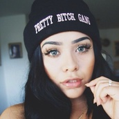 hat,pretty,pretty bitches,beanie,hat beanies,white,black,pretty little liars,bitch,cute,gangsta,hipster