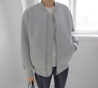 jacket clothes coat grey jacket bomber jacket grey bomber jacket minimalist spring jacket