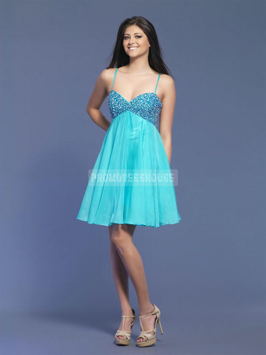 Empire A-line Spaghetti Straps Beading Chiffon Prom Dress - Promdresshouse.com