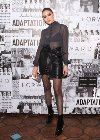 skirt blouse shirt top olivia culpo ankle boots see through leather skirt