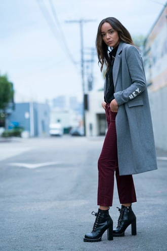 coat pants ankle boots ashley madekwe fall outfits grey coat blogger blouse