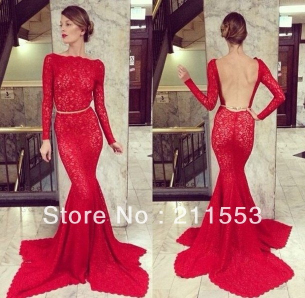 Sexy Long Sleeves Backless Red Lace Evening Dresses Mermaid ...