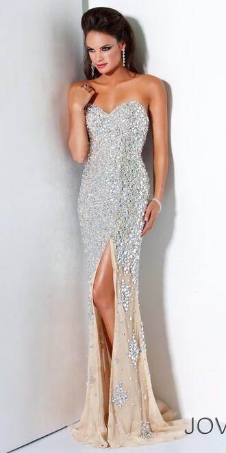 dress prom dress sequin dress sequins evening dress silver gold metallic jovani bridesmaids maxi dress long dress maxi