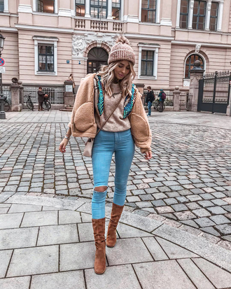 hat tumblr beanie pom pom beanie jacket nude jacket denim jeans blue jeans ripped jeans skinny jeans boots brown boots