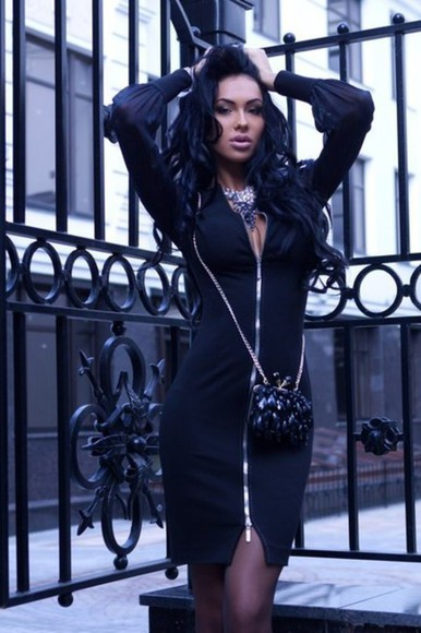 zip dress black dresses