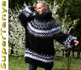 sweater hand knit made icelandic nordic dress turtleneck black mohair angora wool cashmere alpaca supertanya