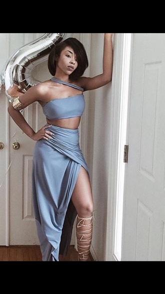 dress light blue blue 2 piece skirt set 2 piece set women women asymmetrical dress asymmetrical skirt greek goddess greek