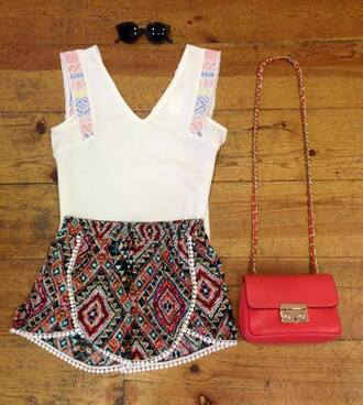 shorts summer white colors gorgeous wow girly top beautiful fashion trendy etnic