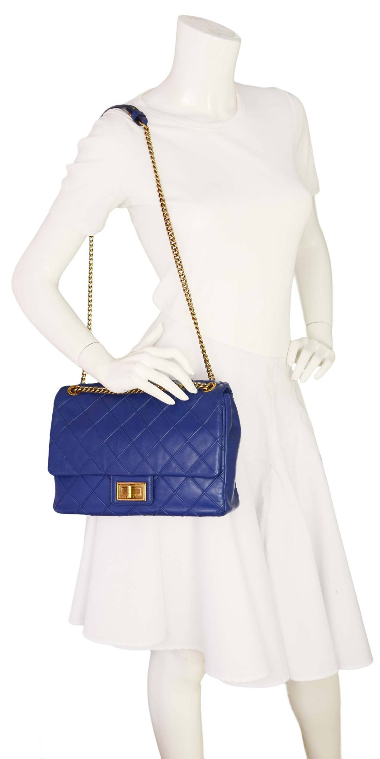 b811b68c45a6 Chanel 2012 Cobalt Blue Quilted Leather Cosmos 2.55 Classic Flap Bag ...