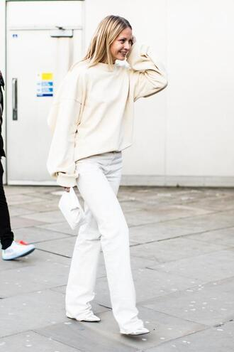 le fashion image blogger sweater bag jeans white pants nude sweater spring outfits