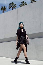 feral creature,blogger,coat,shorts,belt,bag,shoes