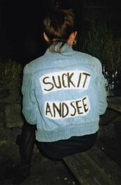 jacket,suck it and see,arctic monkeys,denim jacket,coat,fetch