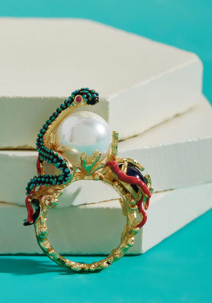 snake sea statement ring statement ring gold coral jewels