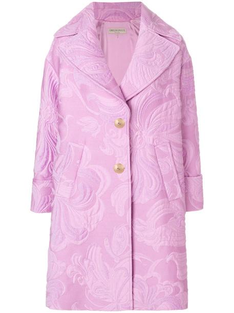Emilio Pucci coat women jacquard cotton silk wool purple pink