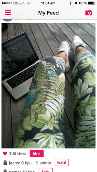 jeans pants plants flowers green blue shoes summer tanned hipster indie floral leggings hawaiian