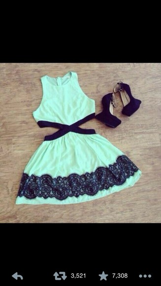 mint dress mint mint black lace