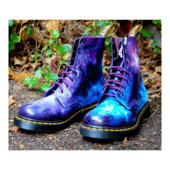 space dr.martens dr.martins space shoes purple shoes blue shoes