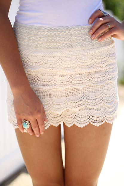 Scallop Laced Shorts Final Sale