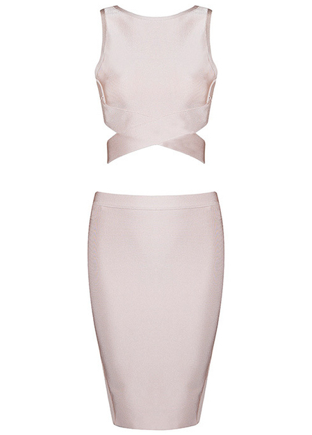Crossed Detail Two Piece Bandage Dress Nude