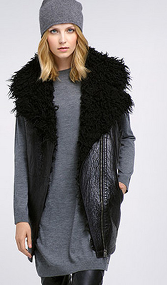 vest jacket black coat fur fur coat