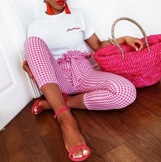 pants red and white plt prettylittlething gingham red pants ruffle summer summer outfits outfit ootdfash