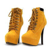 shoes,boots,yellow,lace up,high heels,heels,autumn/winter,fashion,fsjshoes