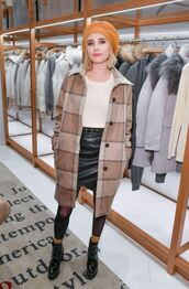 coat,skirt,mini skirt,emma roberts,fall outfits,tights,ankle boots,top,sweater
