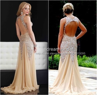 dress nude dress sparkly dress mermaid prom dresses