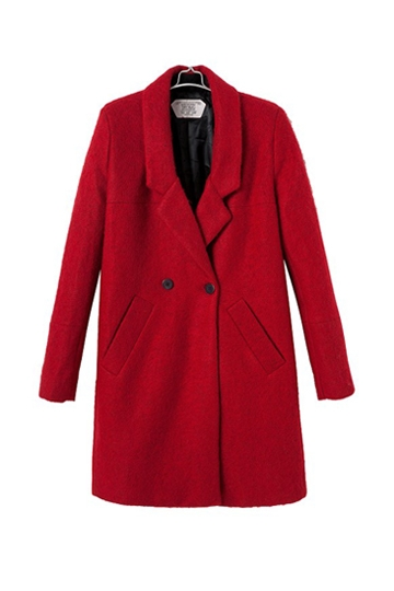 Red Double-breasted Long Coat with Pockets [FEBK0220] - PersunMall.com