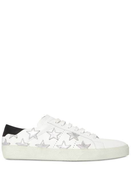 sneakers leather stars silver white shoes