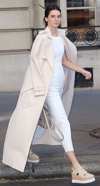 jumpsuit white coat kendall jenner shoes fashion week long coat