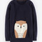 Animal intarsia sweater (navy owl)