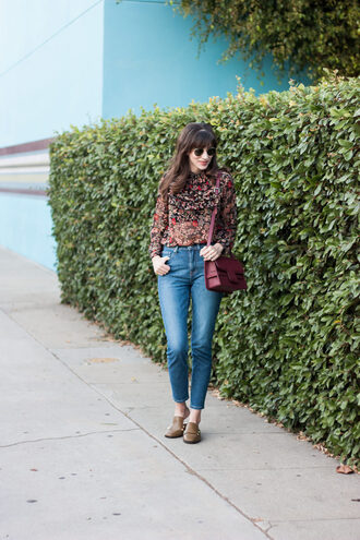 jeans and a teacup blogger blouse bag sunglasses fall outfits shoulder bag loafers floral blouse