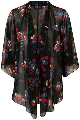 Black Sheer Floral Print Kimono Jacket - New In This Week  - New In  - Topshop