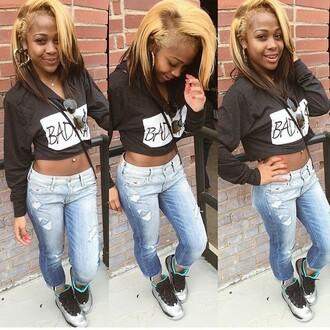 jacket crop tops swag black girls killin it dope freshtops fashion cropped hoodie cropped badass jordans shoes jeans glasses ootd