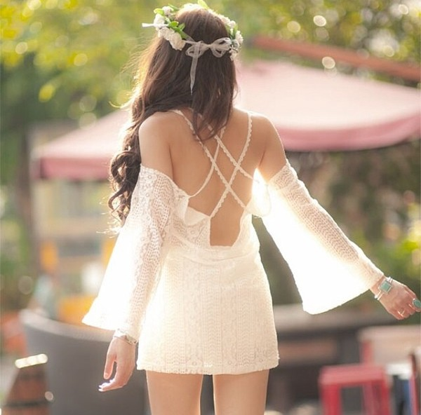 dress lace dress white lace dress hippie dress lace white dress white dress short dress short lace dress short lace dresses style white boho chic festival cross back open back beautiful beach dress