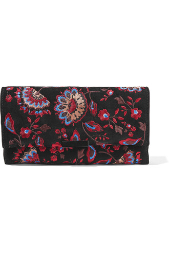 embroidered clutch suede black bag