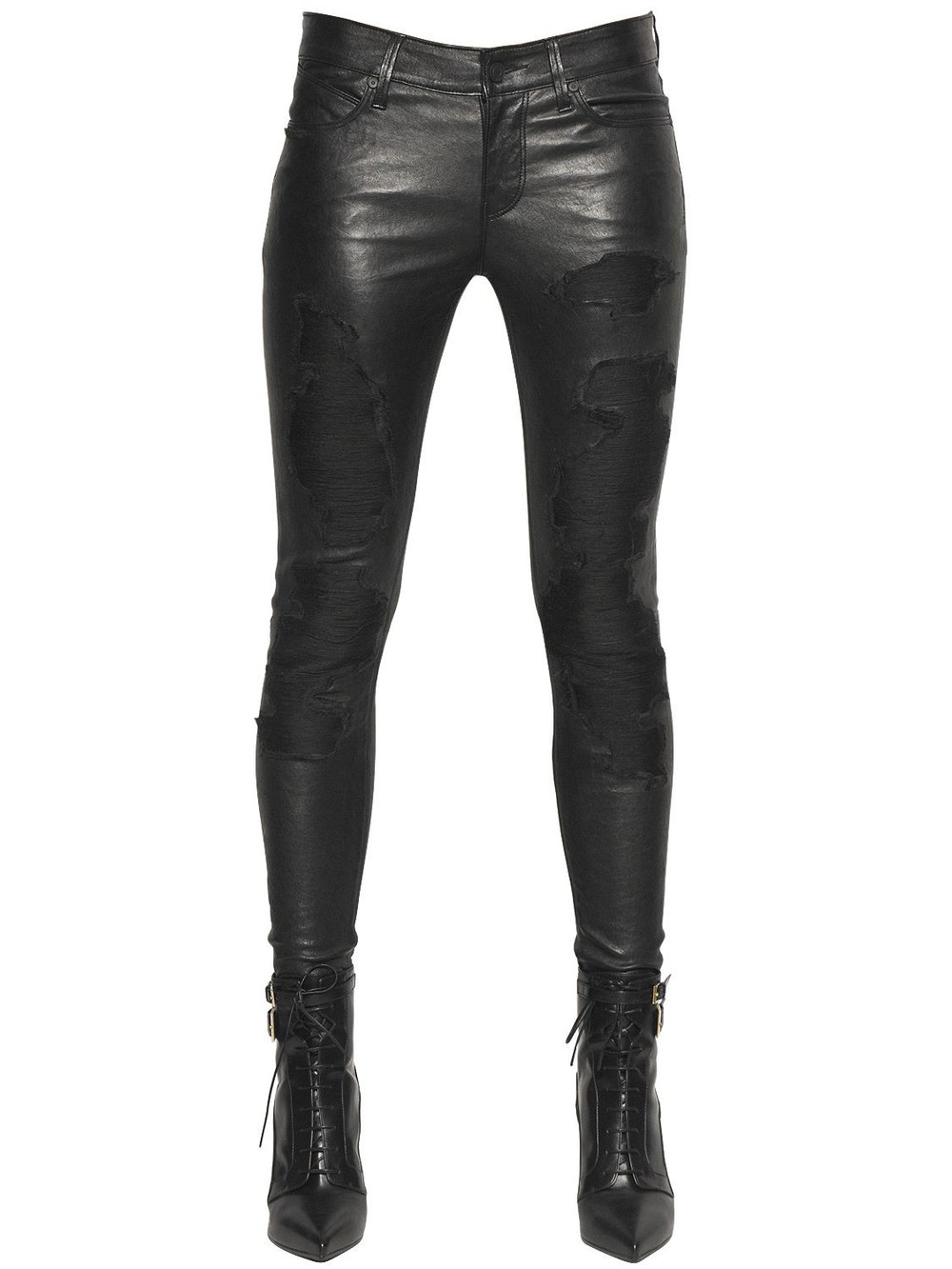 bbbb1acf7ef5 RTA Destroyed Effect Stretch Leather Pants in black