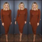 khloe kardashian,camel,brown dress,sweater dress