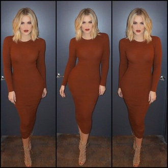 khloe kardashian camel brown dress sweater dress