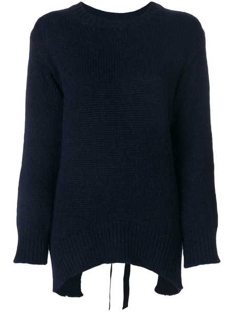 Dondup - open back jumper - women - Cotton/Polyamide/Alpaca/Merino - M, Blue, Cotton/Polyamide/Alpaca/Merino