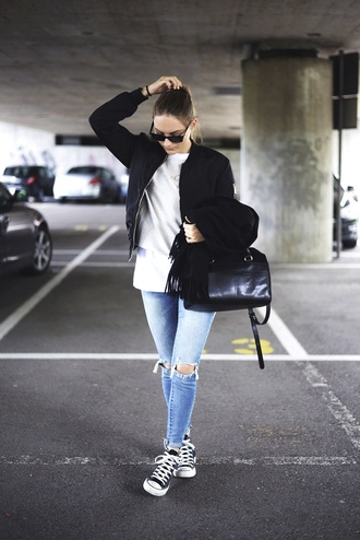 by annna blogger jacket sweater jeans scarf bag jewels shoes sunglasses