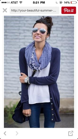 sweater blue glasses white scarf cute