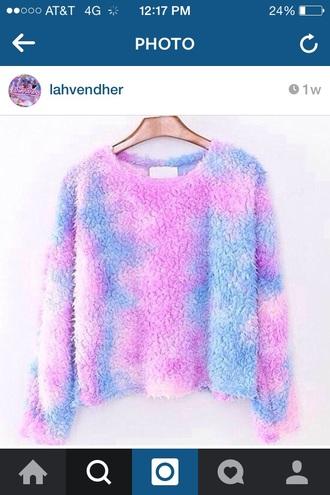 sweater cotton candy cute adorable pastel kawaii lolita pretty girly blue pink
