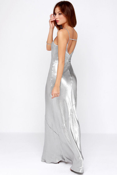 dress maxi dress silver grey open back prom dress prom dress prom long prom dress long dress long maxi dress spaghetti strap spaghetti straps dress spaghetti strap prom dress satin satin dress