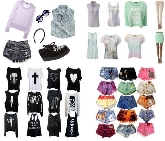 ripped retro spiked hipster dyed torn t-shirt pasten goth sweater shorts