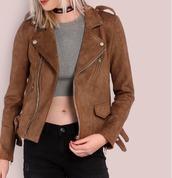 jacket,girl,girly,girly wishlist,biker jacket,brown,brown jacket,zip,button,suede,suede jacket
