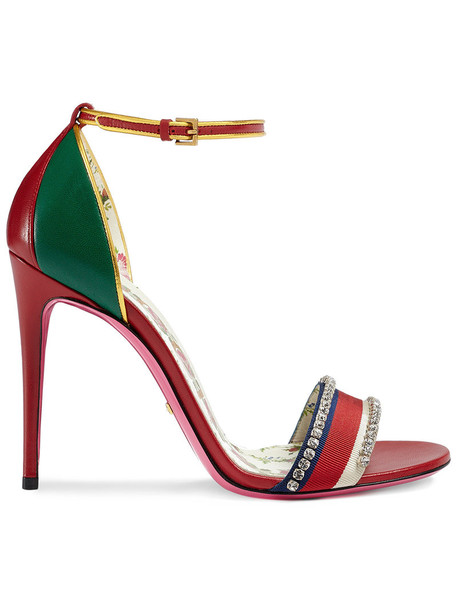 gucci women leather red shoes